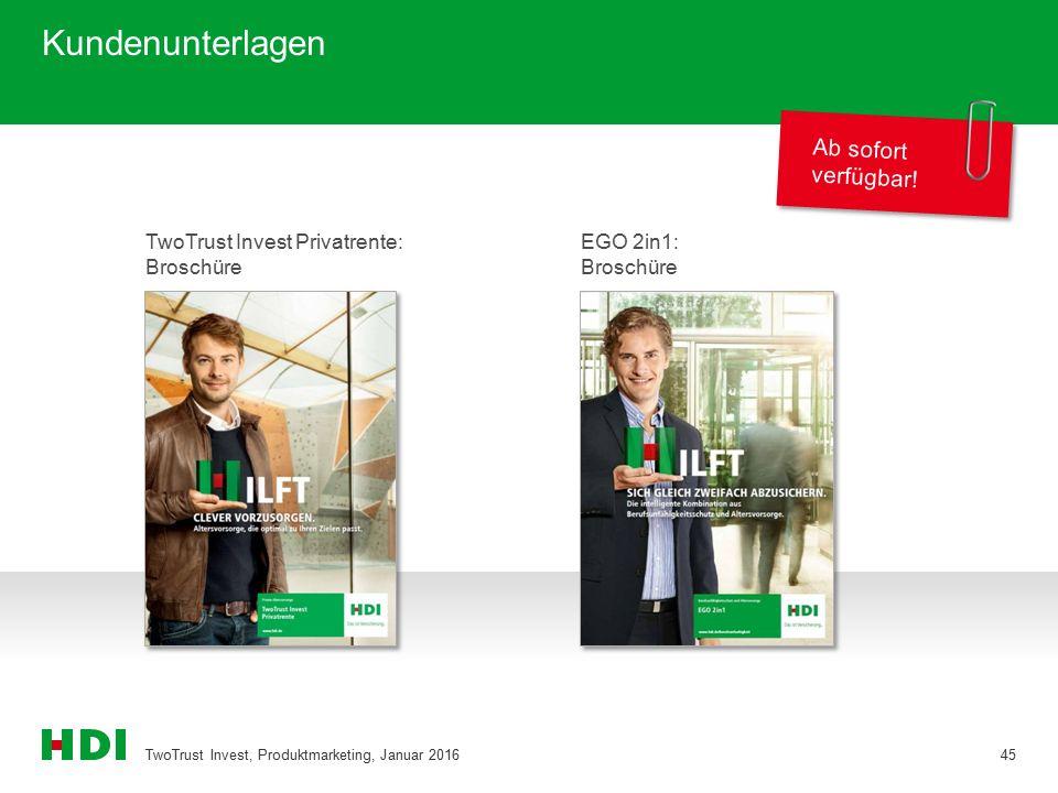 Kundenunterlagen TwoTrust Invest, Produktmarketing, Januar 201645 Ab sofort verfügbar! TwoTrust Invest Privatrente: Broschüre EGO 2in1: Broschüre