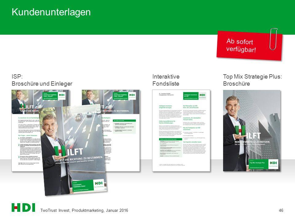 Kundenunterlagen TwoTrust Invest, Produktmarketing, Januar 201646 Ab sofort verfügbar! ISP: Broschüre und Einleger Top Mix Strategie Plus: Broschüre I