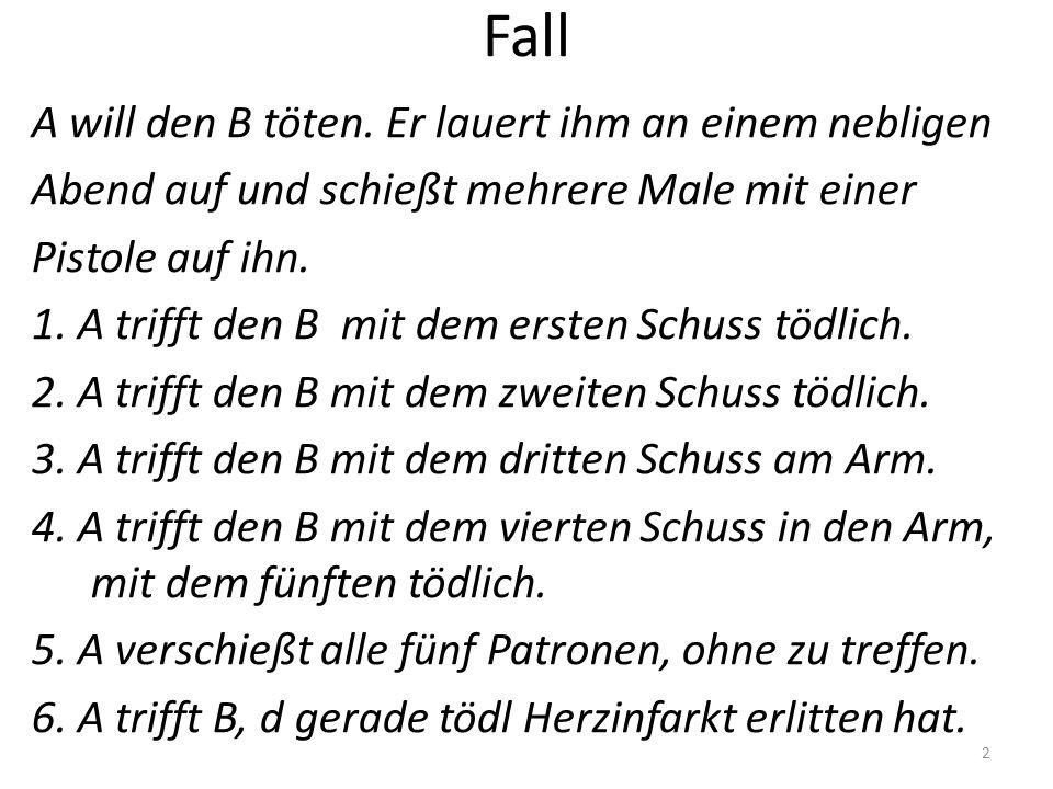 Fall A will den B töten.