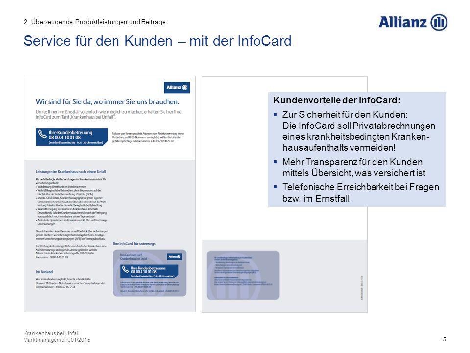 15 Krankenhaus bei Unfall Marktmanagement, 01/2015 Service für den Kunden – mit der InfoCard 2.