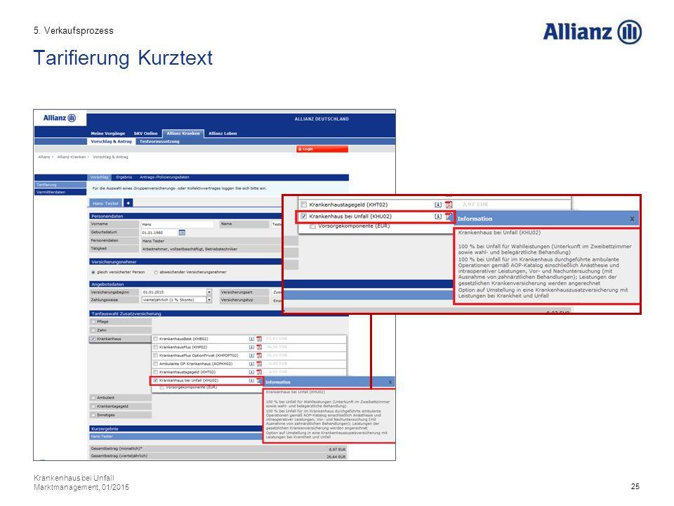 25 Tarifierung Kurztext 5. Verkaufsprozess Krankenhaus bei Unfall Marktmanagement, 01/2015