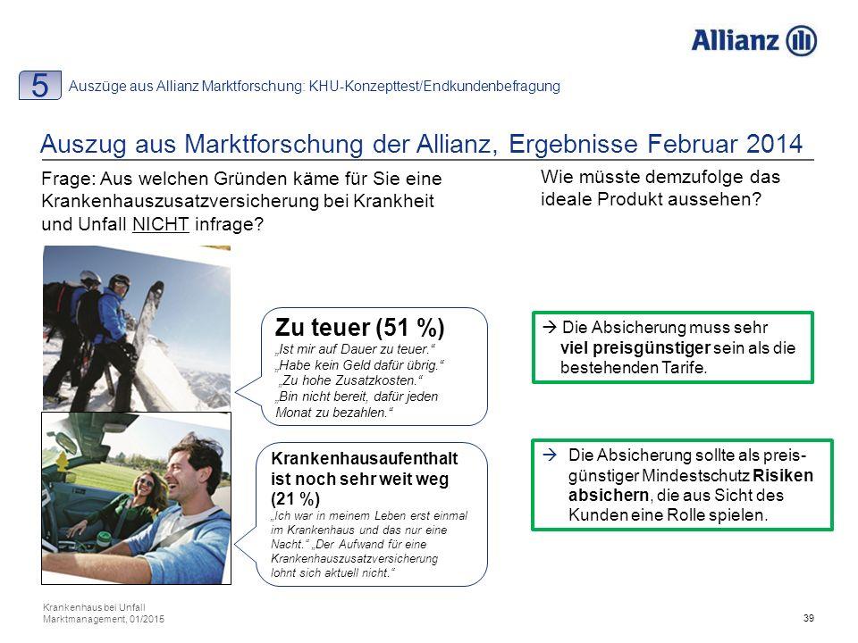 39 Auszug aus Marktforschung der Allianz, Ergebnisse Februar 2014 Frage: Aus welchen Gründen käme für Sie eine Krankenhauszusatzversicherung bei Krankheit und Unfall NICHT infrage.