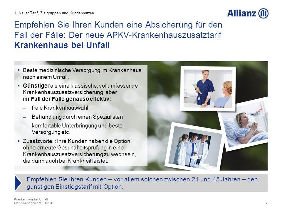 8 Der Tarif Krankenhaus bei Unfall ergänzt das Produktportfolio Krankenhauszusatzversicherungen um die bisher fehlende günstige Einstiegsvariante mit Option Krankenhaus bei Unfall Marktmanagement, 01/2015 1.