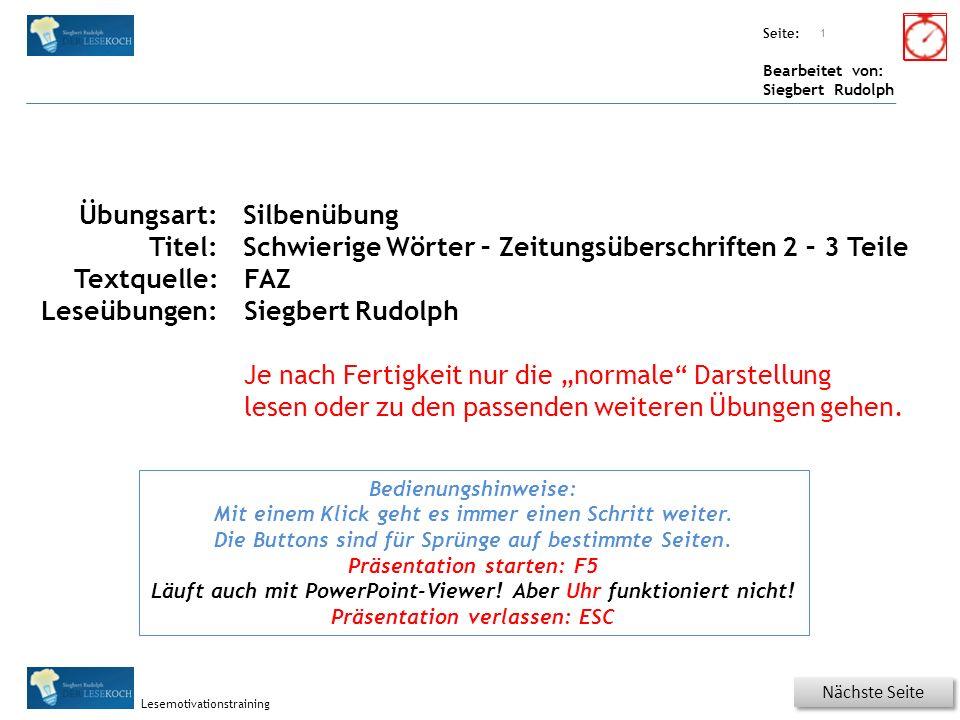 Übungsart: Seite: Bearbeitet von: Siegbert Rudolph Lesemotivationstraining 22 Wortschatz – Was ist richtig.