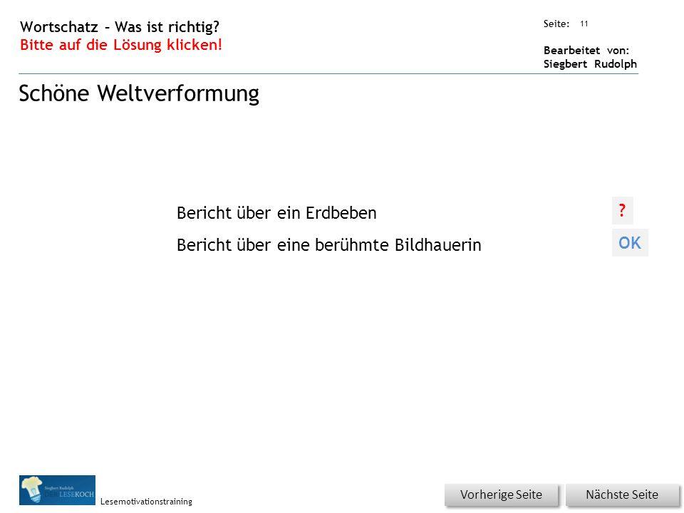 Übungsart: Seite: Bearbeitet von: Siegbert Rudolph Lesemotivationstraining 11 Wortschatz – Was ist richtig.