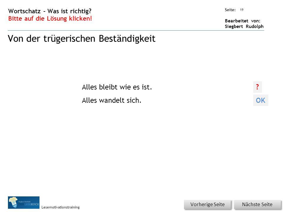 Übungsart: Seite: Bearbeitet von: Siegbert Rudolph Lesemotivationstraining 19 Wortschatz – Was ist richtig.