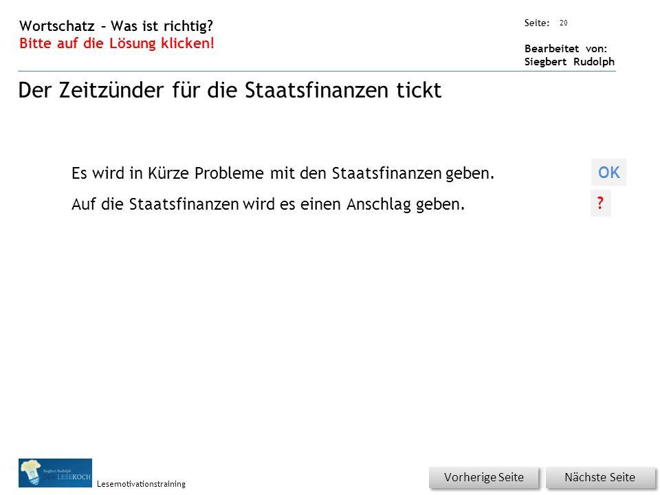 Übungsart: Seite: Bearbeitet von: Siegbert Rudolph Lesemotivationstraining 20 Wortschatz – Was ist richtig.