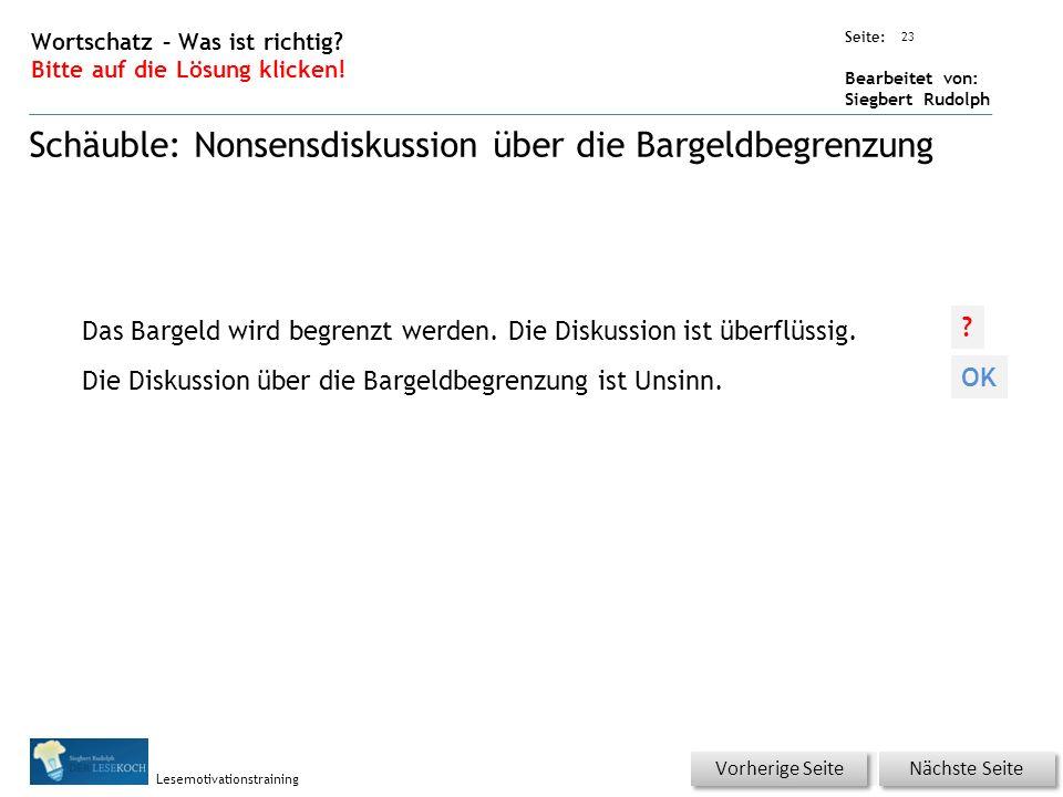 Übungsart: Seite: Bearbeitet von: Siegbert Rudolph Lesemotivationstraining 23 Wortschatz – Was ist richtig.