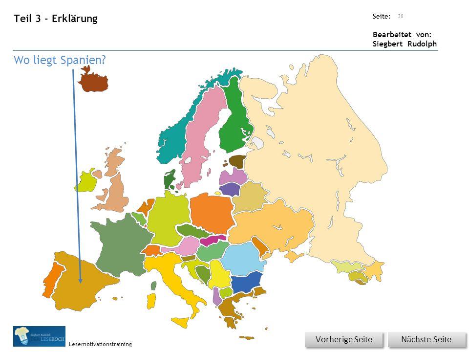 Übungsart: Seite: Bearbeitet von: Siegbert Rudolph Lesemotivationstraining Teil 3 - Erklärung 30 Nächste Seite Vorherige Seite Wo liegt Spanien