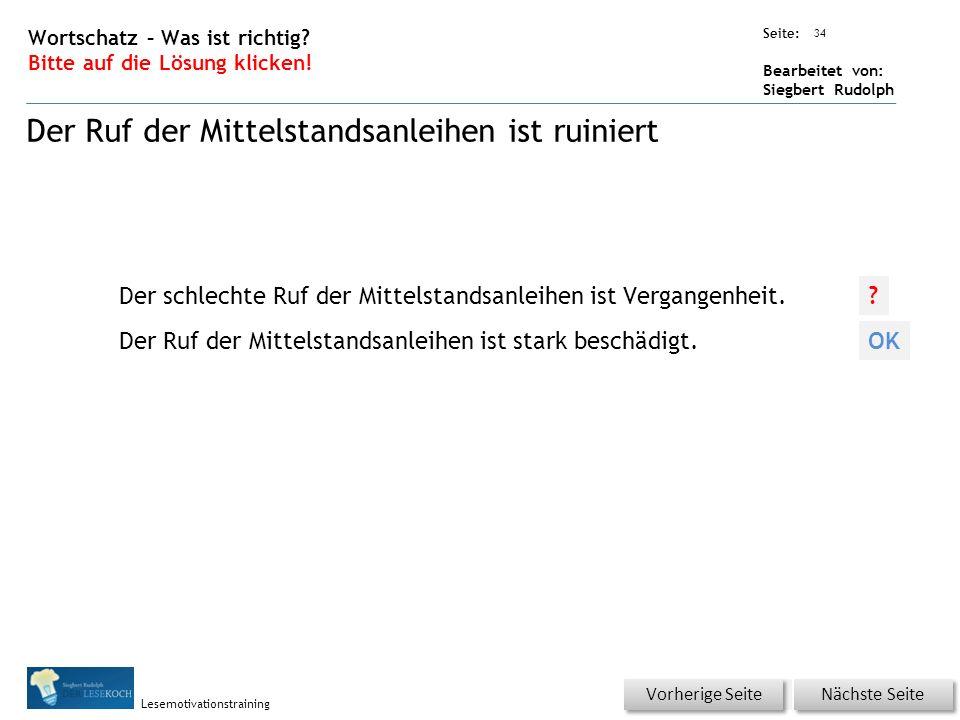 Übungsart: Seite: Bearbeitet von: Siegbert Rudolph Lesemotivationstraining 34 Wortschatz – Was ist richtig.