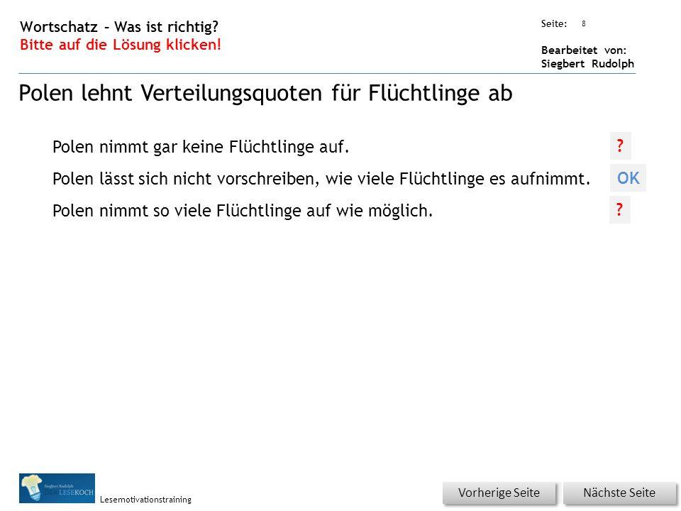 Übungsart: Seite: Bearbeitet von: Siegbert Rudolph Lesemotivationstraining 9 Wortschatz – Was ist richtig.