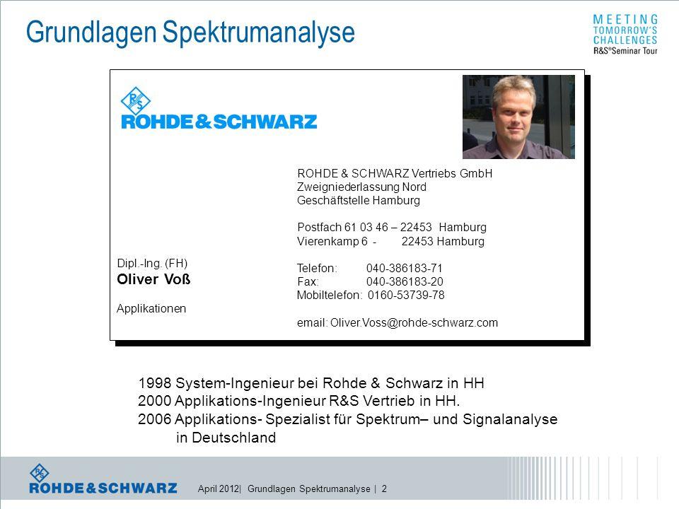 April 2012| Grundlagen Spektrumanalyse | 3 Dr.
