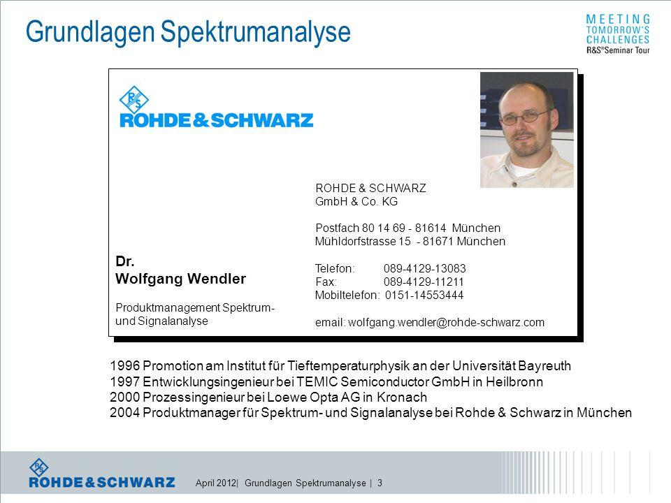 April 2012| Grundlagen Spektrumanalyse | 14 DisplayDetektor f start f stop f IF frequency converter HF ZF ZF-Filter Local oscillator  Realisierung eines SPA Prinzip: Frequenzumsetzung