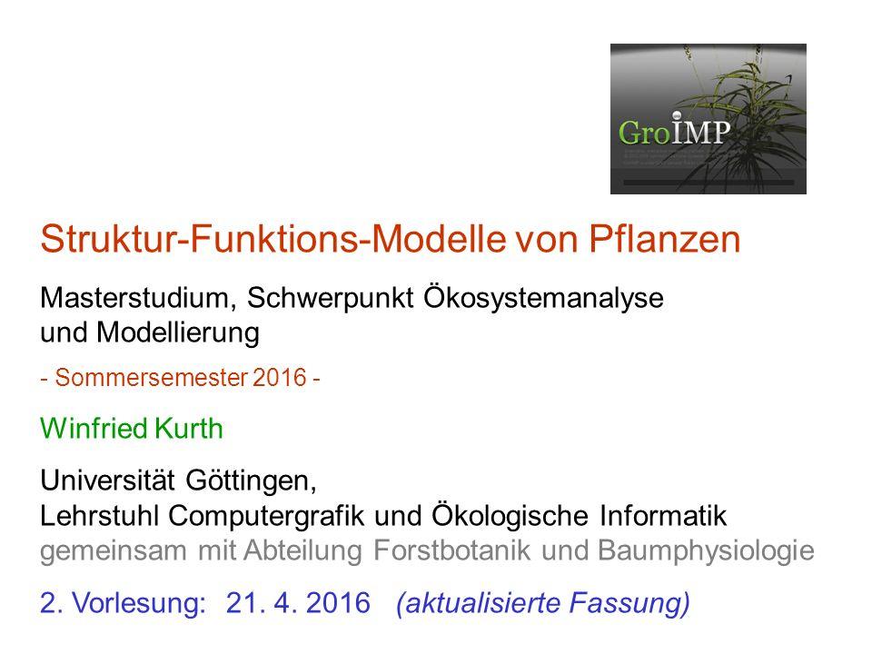 Strukturmodelle 3 Ebenen: 1.statische Strukturbeschreibung Pflanze zu einem festen Zeitpunkt (z.B.