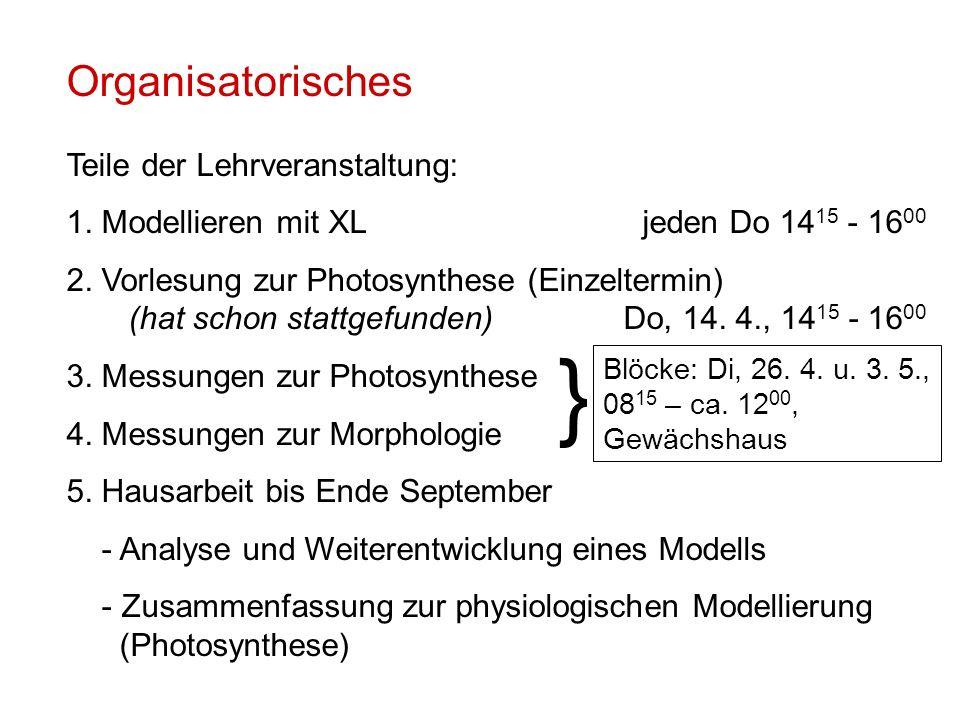 Organisatorisches Teile der Lehrveranstaltung: 1. Modellieren mit XLjeden Do 14 15 - 16 00 2.