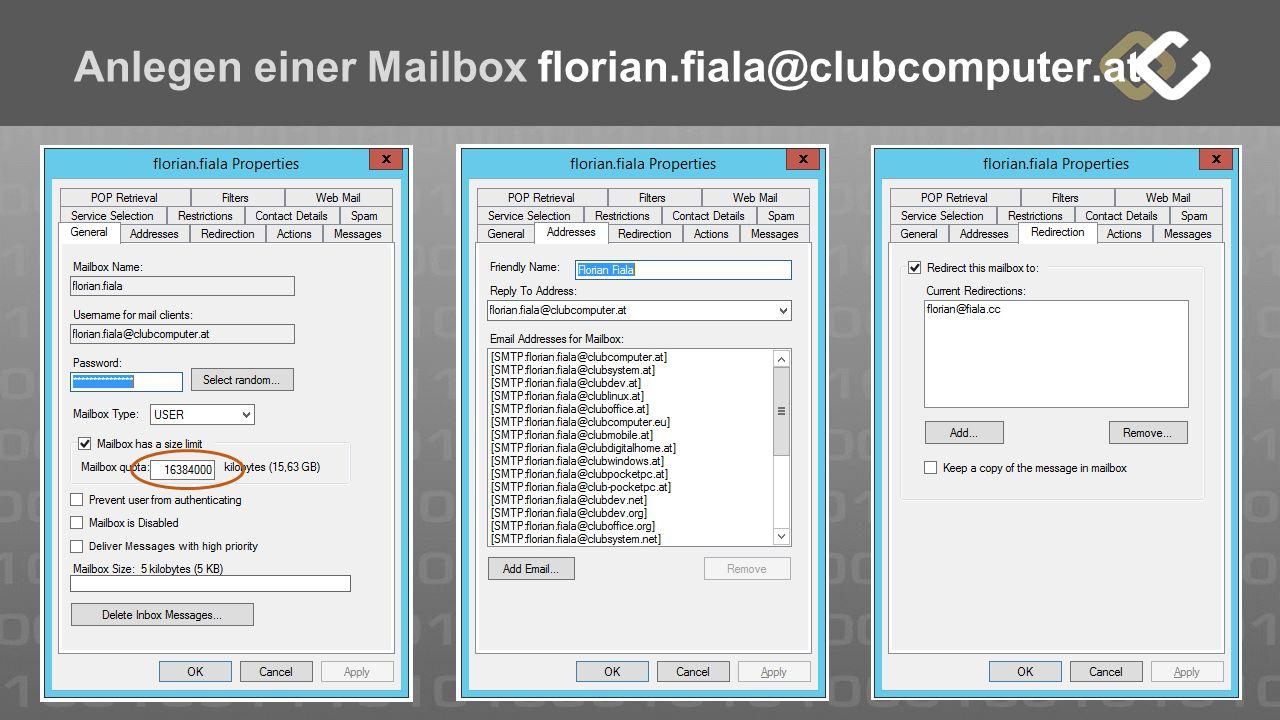 Anlegen einer Mailbox florian.fiala@clubcomputer.at