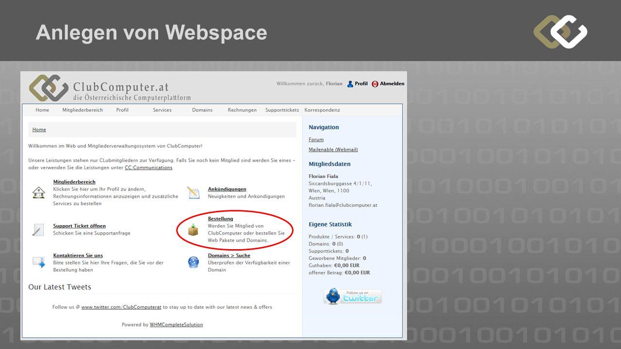 Anlegen von Webspace