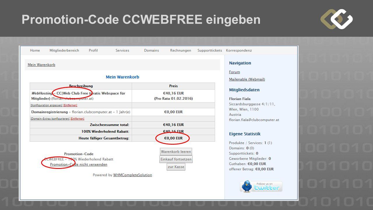 Promotion-Code CCWEBFREE eingeben