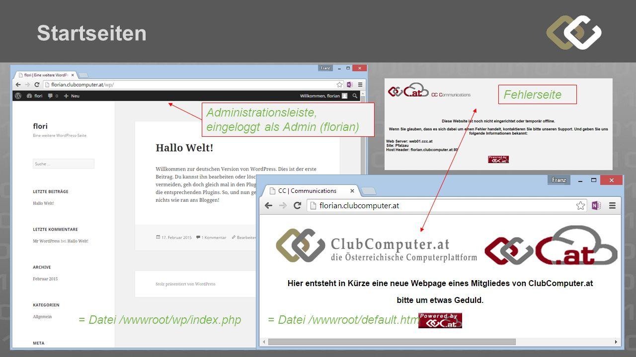 Startseiten = Datei /wwwroot/default.htm= Datei /wwwroot/wp/index.php Administrationsleiste, eingeloggt als Admin (florian) Fehlerseite