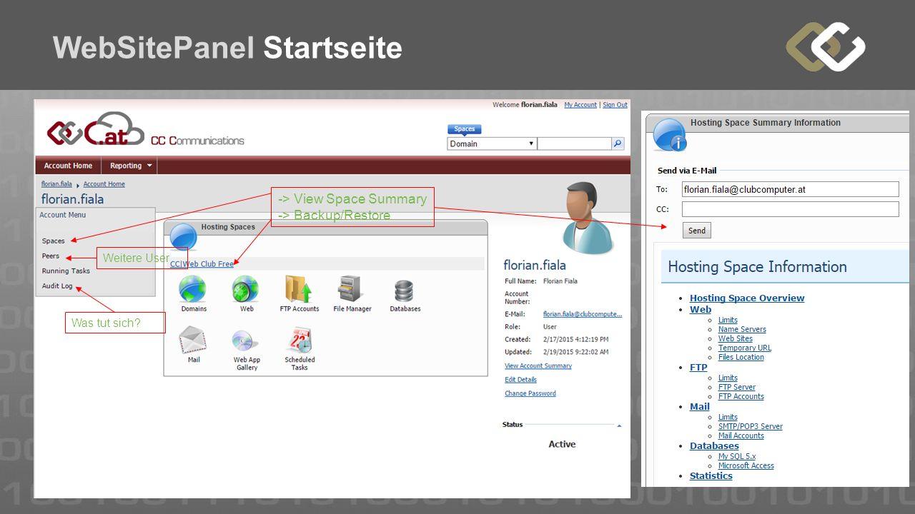 WebSitePanel Startseite -> View Space Summary -> Backup/Restore Weitere User Was tut sich?