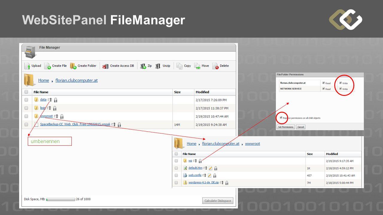 WebSitePanel FileManager umbenennen