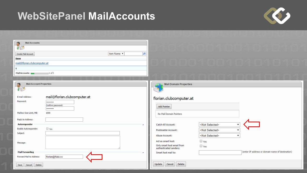 WebSitePanel MailAccounts