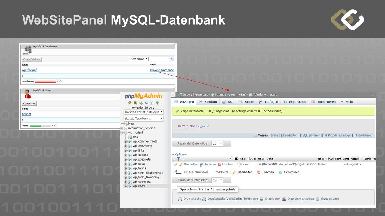 WebSitePanel MySQL-Datenbank