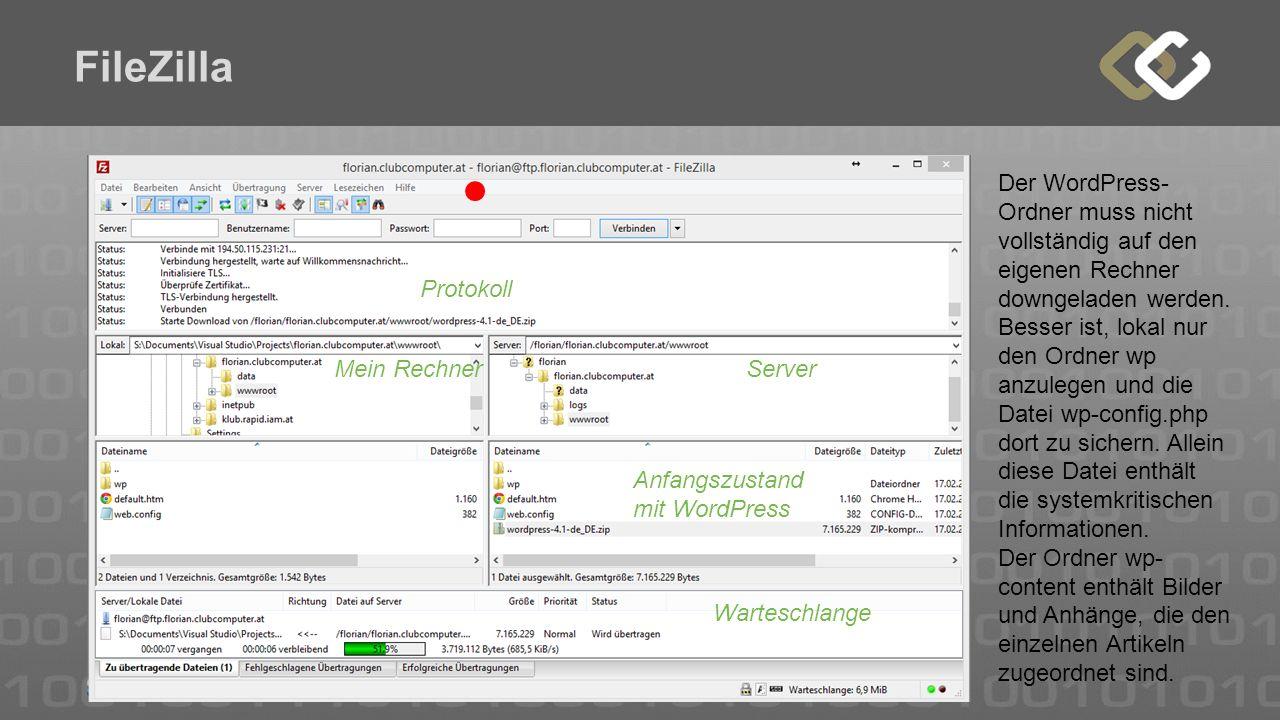 FileZilla Protokoll Mein RechnerServer Warteschlange Anfangszustand mit WordPress Der WordPress- Ordner muss nicht vollständig auf den eigenen Rechner