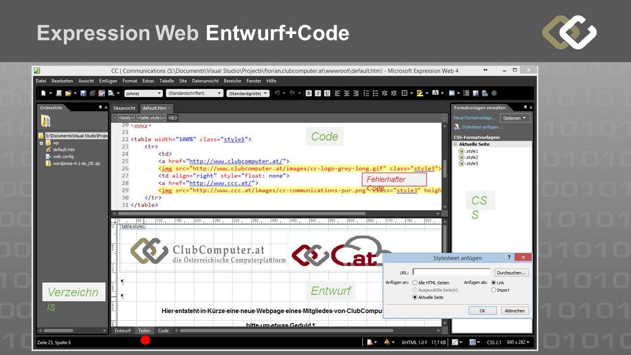 Expression Web Entwurf+Code Code Entwurf Verzeichn is CS S Fehlerhafter Code
