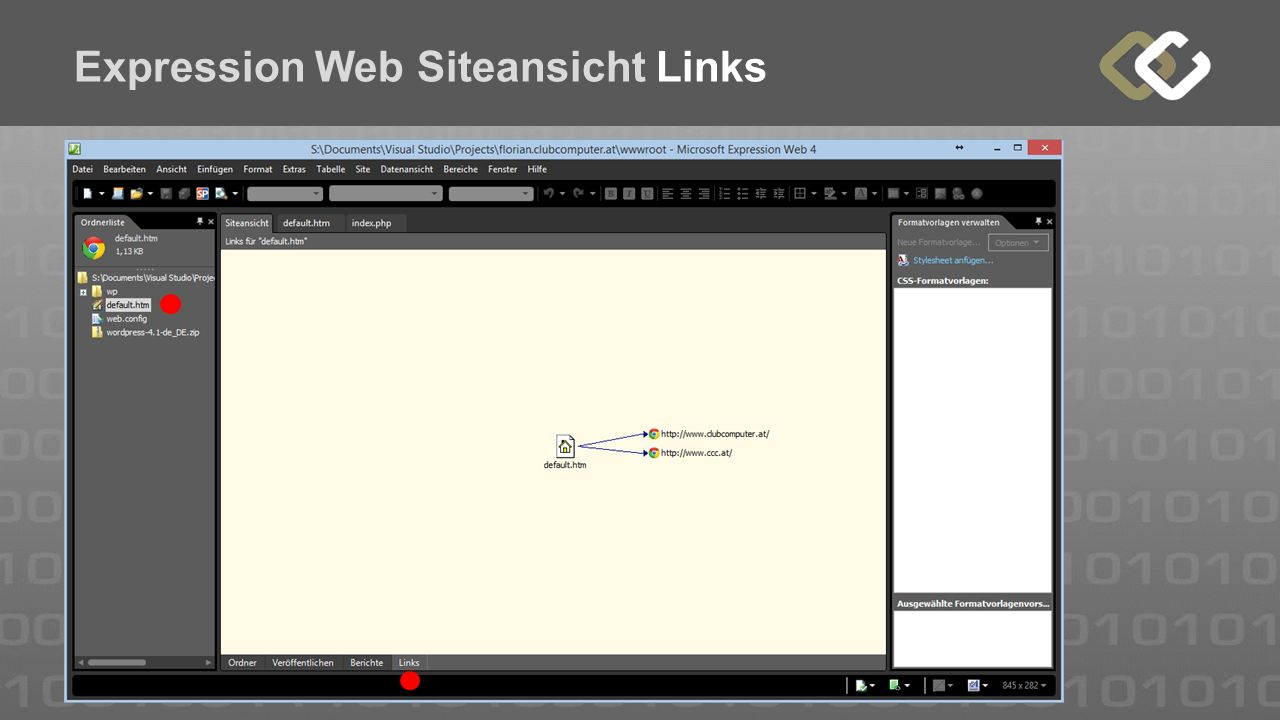 Expression Web Siteansicht Links