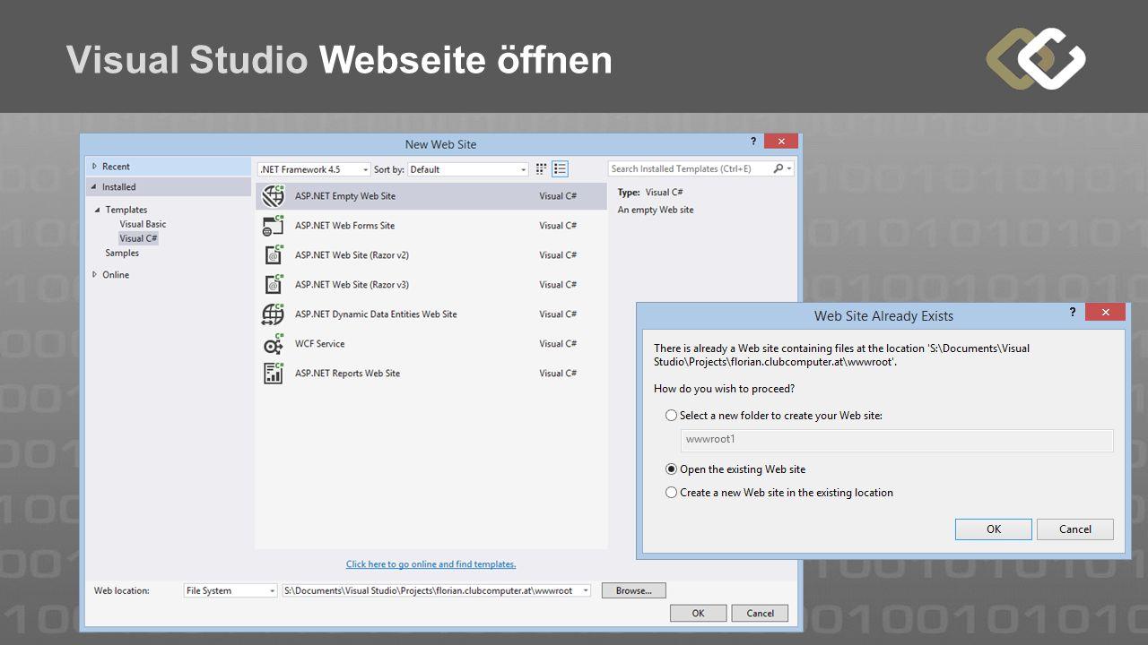 Visual Studio Webseite öffnen