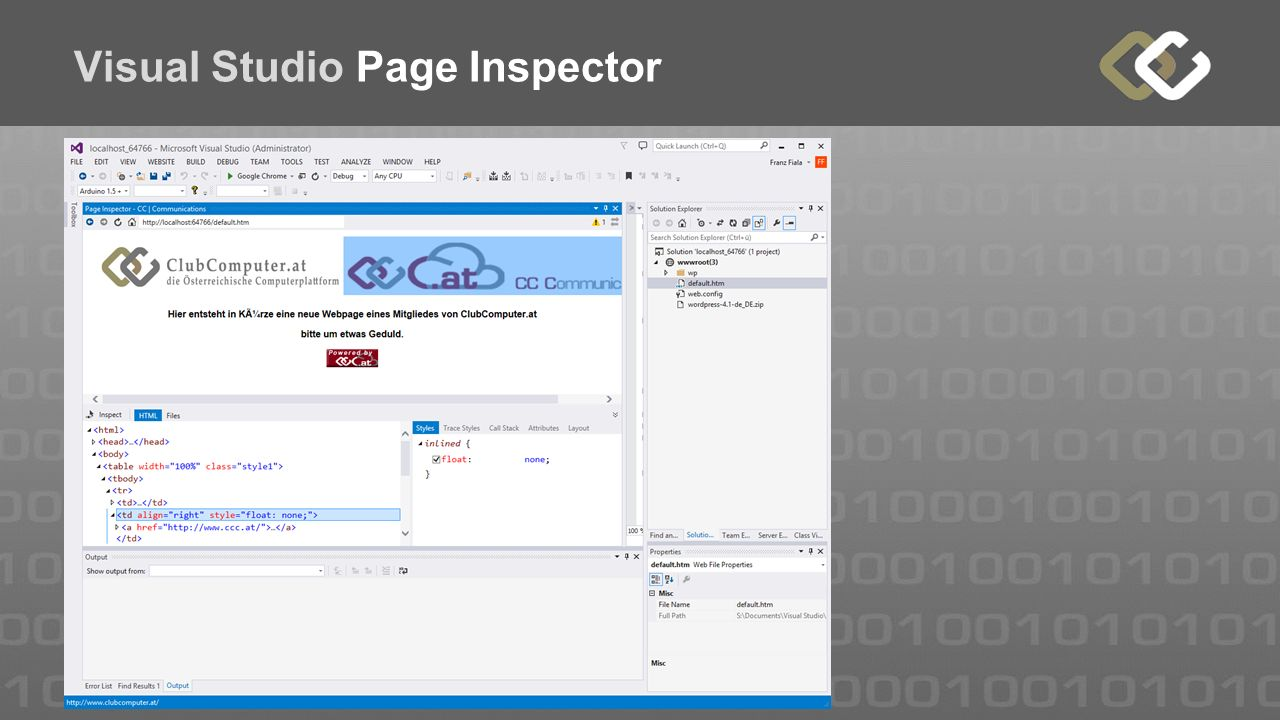 Visual Studio Page Inspector