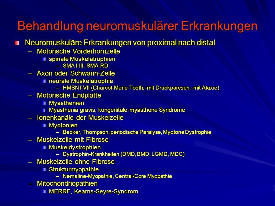 Behandlung neuromuskulärer Erkrankungen Neuromuskuläre Erkrankungen von proximal nach distal –Motorische Vorderhornzelle spinale Muskelatrophien –SMA I-III, SMA-RD –Axon oder Schwann-Zelle neurale Muskelatrophie –HMSN I-VII (Charcot-Marie-Tooth, -mit Druckparesen, -mit Ataxie) –Motorische Endplatte Myasthenien Myasthenia gravis, kongenitale myasthene Syndrome –Ionenkanäle der Muskelzelle Myotonien –Becker, Thompson, periodische Paralyse, Myotone Dystrophie –Muskelzelle mit Fibrose Muskeldystrophien –Dystrophin-Krankheiten (DMD, BMD, LGMD, MDC) –Muskelzelle ohne Fibrose Strukturmyopathie –Nemaline-Myopathie, Central-Core Myopathie –Mitochondriopathien MERRF, Kearns-Seyre-Syndrom