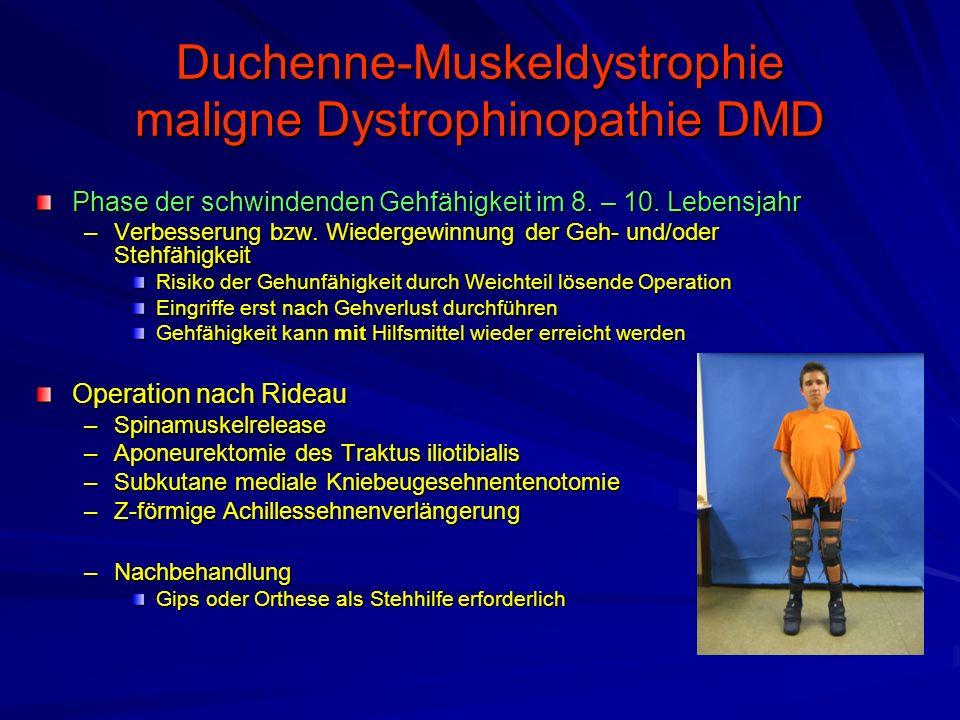 Duchenne-Muskeldystrophie maligne Dystrophinopathie DMD Phase der schwindenden Gehfähigkeit im 8.