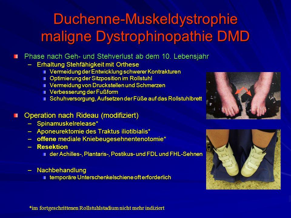 Duchenne-Muskeldystrophie maligne Dystrophinopathie DMD Phase nach Geh- und Stehverlust ab dem 10.