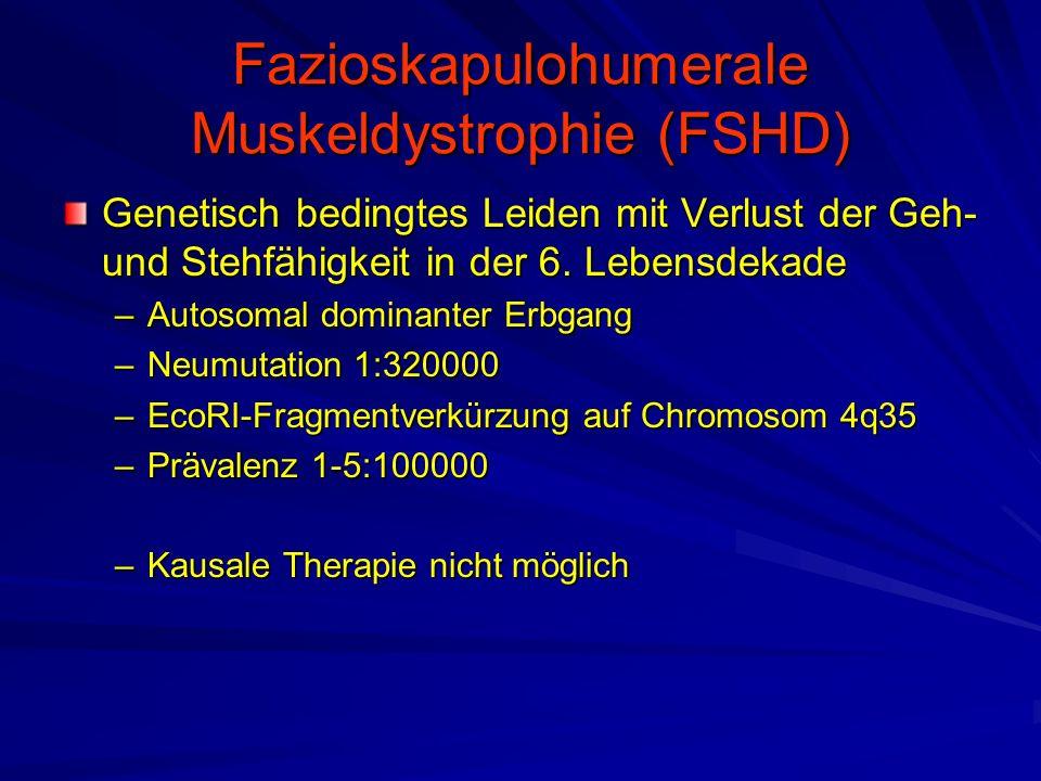 Fazioskapulohumerale Muskeldystrophie (FSHD) Genetisch bedingtes Leiden mit Verlust der Geh- und Stehfähigkeit in der 6.