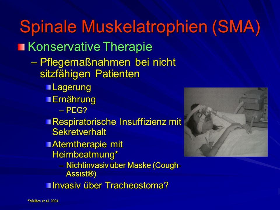 Spinale Muskelatrophien (SMA) Konservative Therapie –Pflegemaßnahmen bei nicht sitzfähigen Patienten LagerungErnährung –PEG.