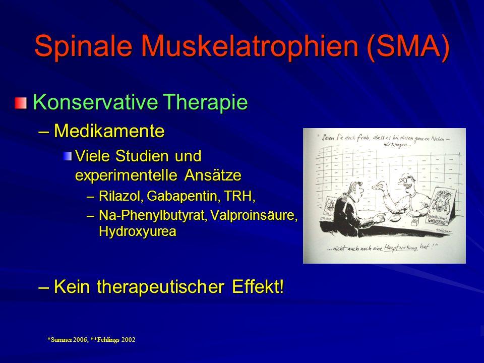 Spinale Muskelatrophien (SMA) Konservative Therapie –Medikamente Viele Studien und experimentelle Ansätze –Rilazol, Gabapentin, TRH, –Na-Phenylbutyrat, Valproinsäure, Hydroxyurea –Kein therapeutischer Effekt.