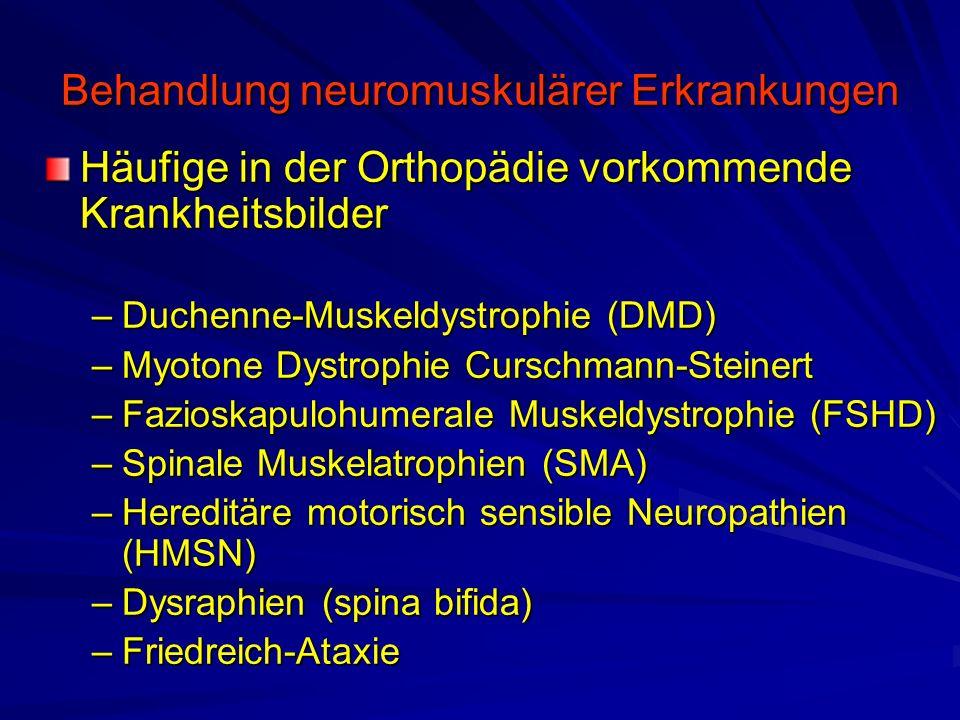Behandlung neuromuskulärer Erkrankungen Häufige in der Orthopädie vorkommende Krankheitsbilder –Duchenne-Muskeldystrophie (DMD) –Myotone Dystrophie Curschmann-Steinert –Fazioskapulohumerale Muskeldystrophie (FSHD) –Spinale Muskelatrophien (SMA) –Hereditäre motorisch sensible Neuropathien (HMSN) –Dysraphien (spina bifida) –Friedreich-Ataxie