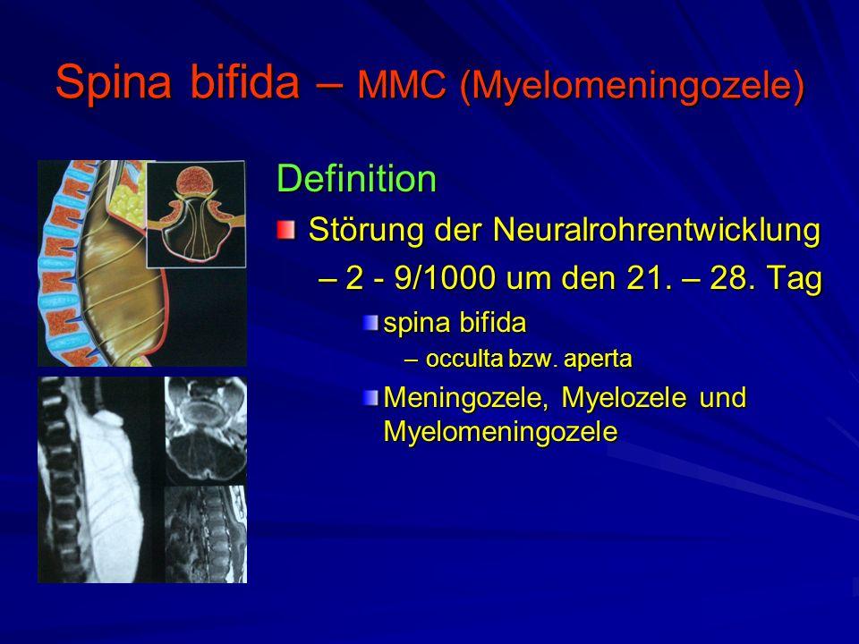 Spina bifida – MMC (Myelomeningozele) Definition Störung der Neuralrohrentwicklung –2 - 9/1000 um den 21.