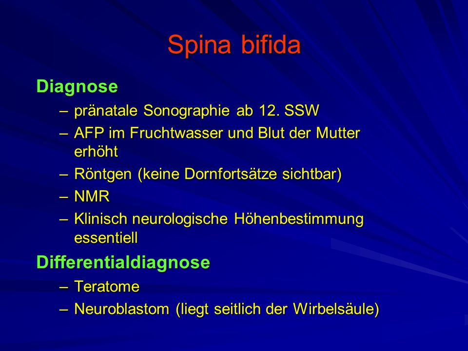 Spina bifida Diagnose –pränatale Sonographie ab 12.