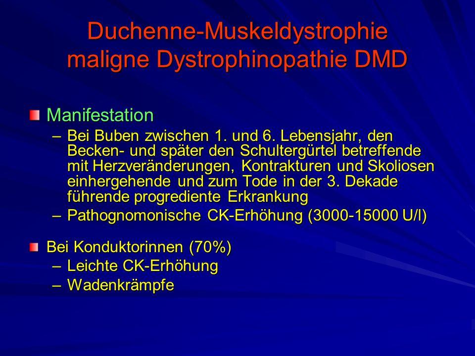 Duchenne-Muskeldystrophie maligne Dystrophinopathie DMD Manifestation –Bei Buben zwischen 1.