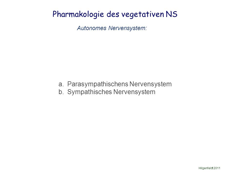 Pharmakologie des vegetativen NS Hilgenfeldt 2011 Pupils Salivary glands Heart Bronchi of lungs Liver Stomach Small intestines Adrenal gland Kidney Large intestine Rectum Bladder Genitals Sympathikus