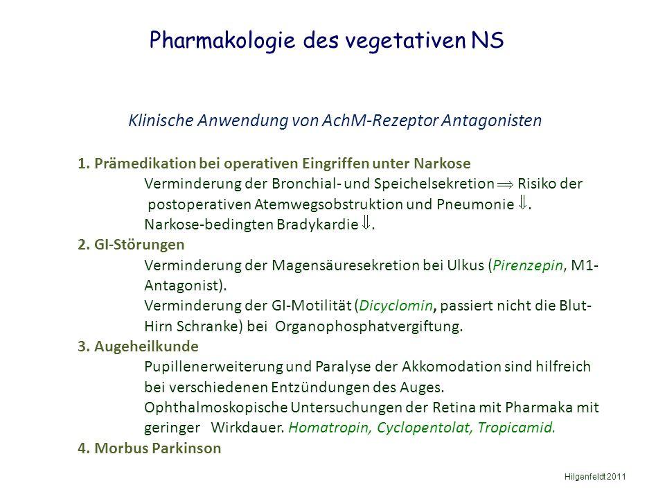 Pharmakologie des vegetativen NS Hilgenfeldt 2011 Klinische Anwendung von AchM-Rezeptor Antagonisten 1.