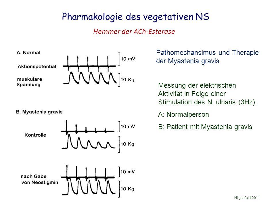 Pharmakologie des vegetativen NS Hilgenfeldt 2011 Hemmer der ACh-Esterase Pathomechansimus und Therapie der Myastenia gravis Messung der elektrischen Aktivität in Folge einer Stimulation des N.