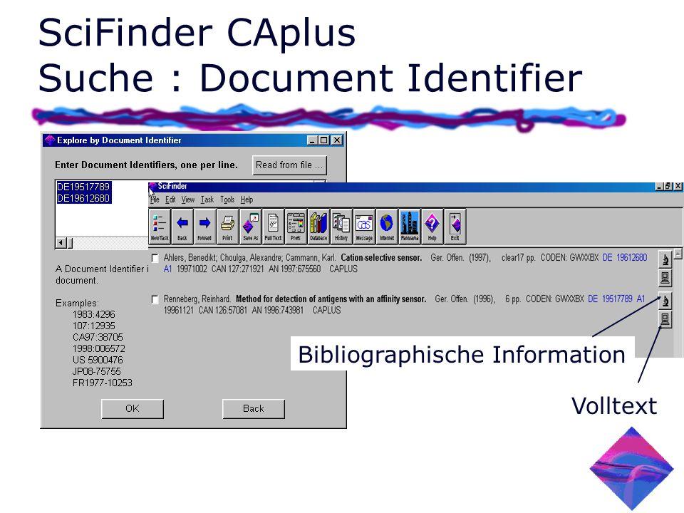 SciFinder CAplus Suche : Document Identifier Bibliographische Information Volltext