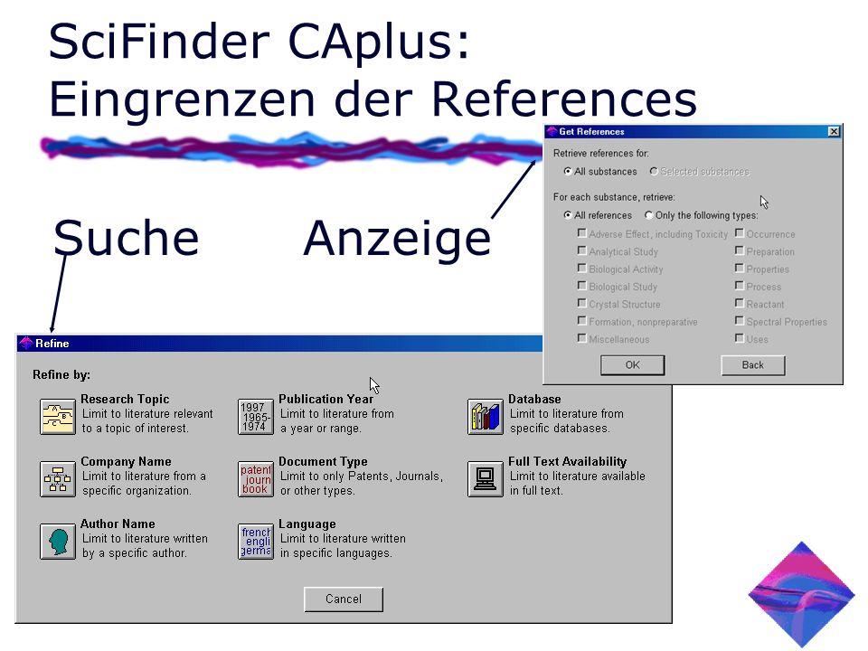 SciFinder CAplus: Eingrenzen der References Suche Anzeige