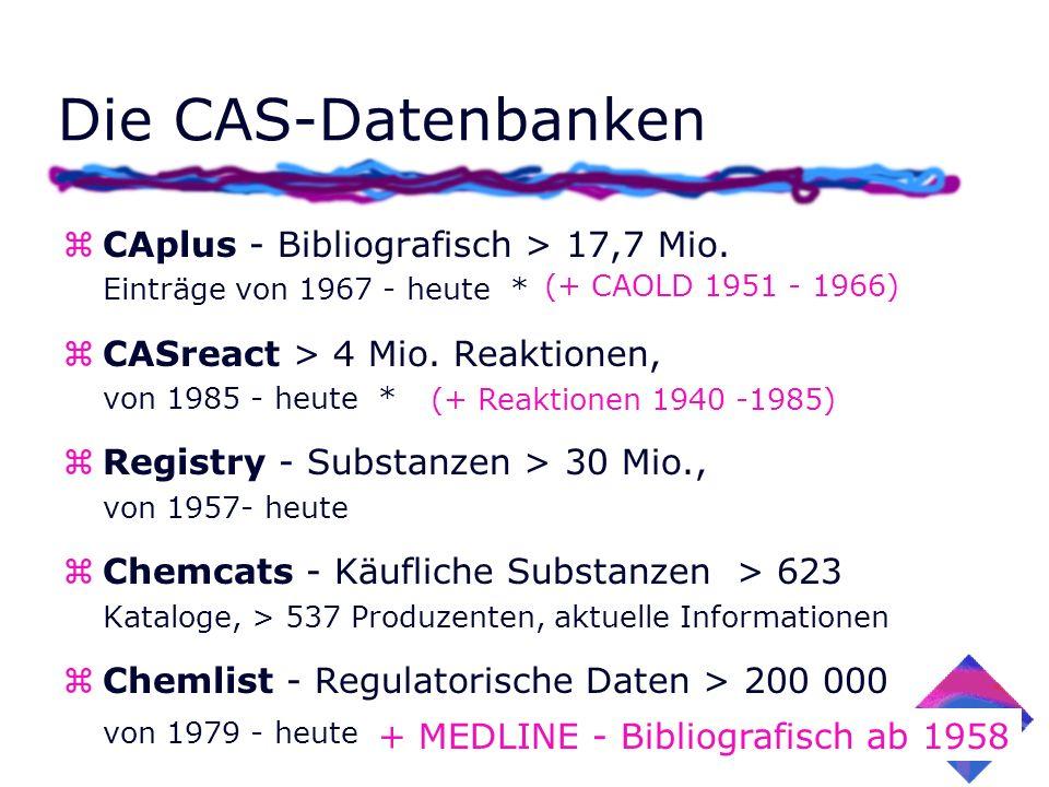 zCAplus - Bibliografisch > 17,7 Mio. Einträge von 1967 - heute * zCASreact > 4 Mio. Reaktionen, von 1985 - heute * zRegistry - Substanzen > 30 Mio., v