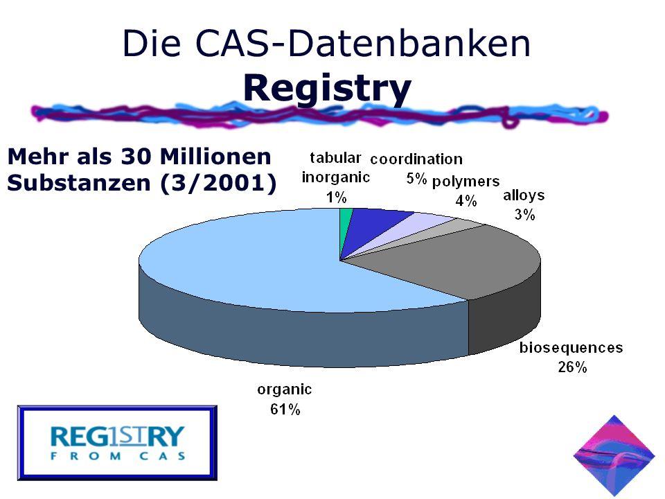 Die CAS-Datenbanken Registry Mehr als 30 Millionen Substanzen (3/2001)