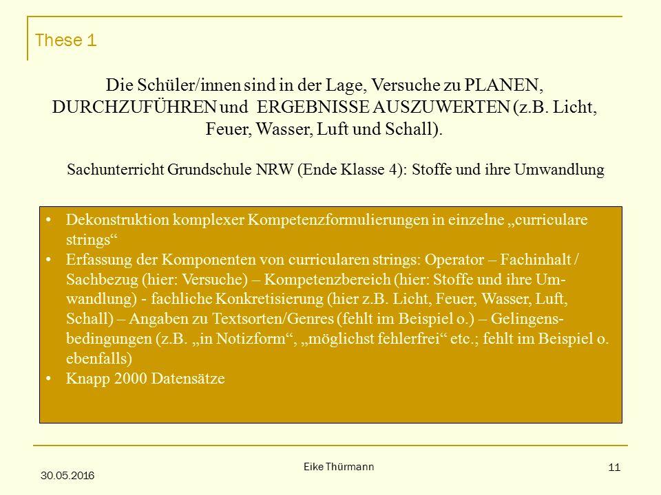 These 1 30.05.2016 Eike Thürmann 11 Die Schüler/innen sind in der Lage, Versuche zu PLANEN, DURCHZUFÜHREN und ERGEBNISSE AUSZUWERTEN (z.B.